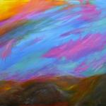 "Abstract Mountain Sunset 11"" x 17"""
