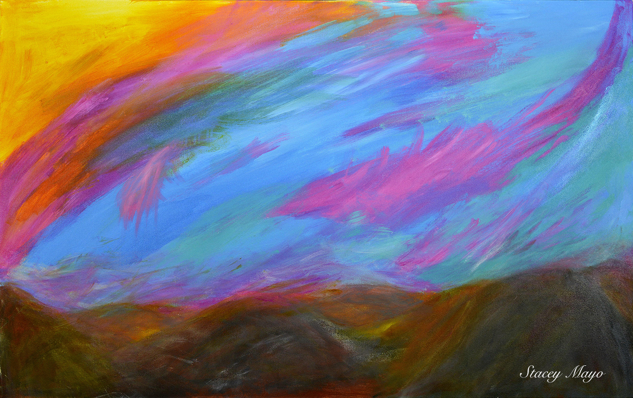 "Abstract Mountain Sunset 11"" x 17"""