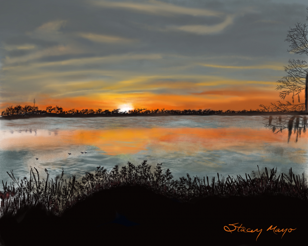 "Lakeside Sunset 16"" x 20"""